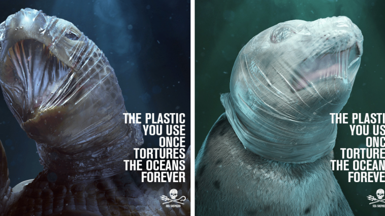 Sea Shepherd's Ad Shows Animals Suffocating In Plastic For Their