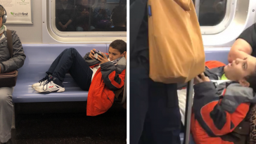 Spoiled Kid Won't Move His Legs In Crowded Subway So