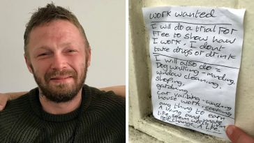 After Homeless Man Writes A Note Saying He Could Work